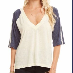 NWT- Chaser Jersey 3/4 Sleeve V Neck T-shirt